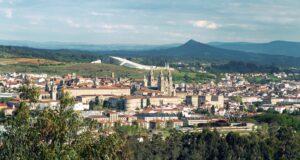 Santiago de Compostela view from above. Camino de Santiago pilgrimage destiny