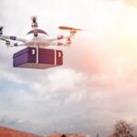 modern delivery drone 3d rendering image
