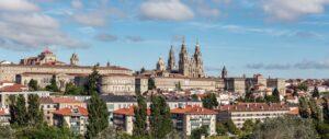 Santiago de Compostela panoramic view. Cityscape UNESCO World Heritage Site. Galicia, Spain