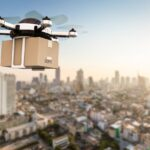3d rendering delivery drone flying with cardboard box